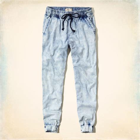 light blue jean joggers hollister denim jogger bottoms