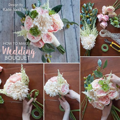 make your own wedding bouquets ahead of time with silk flowers to avoid the stress of overpriced