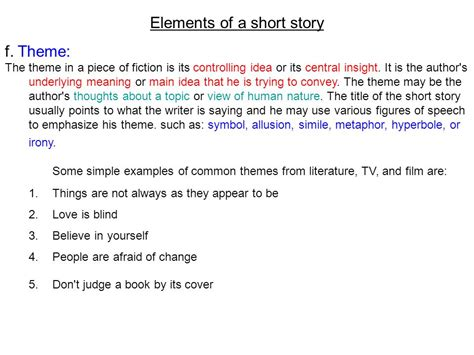 common themes used in film elements of a short story ppt video online download