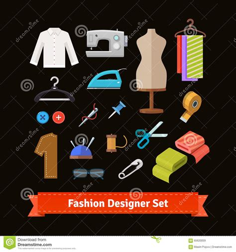 fashion design equipment list fashion designer tools and materials stock vector image