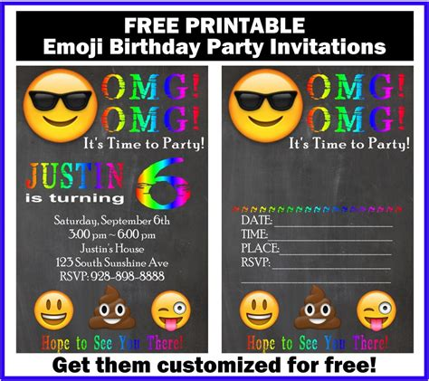 printable emoji birthday invitations free customized emoji invitations and birthday printables