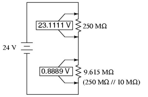 voltage across a resistor in a dc circuit voltmeter impact on measured circuit