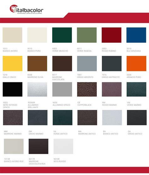 persiane in alluminio colori tabella colori ral alluminio italbacolor