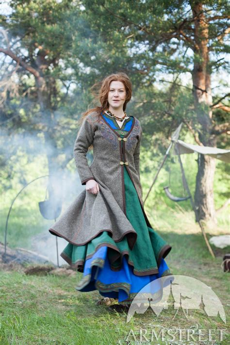 viking coat with embroidery available in wool