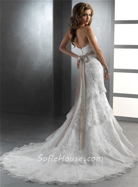 gorgeous trumpet mermaid strapless tiered beaded