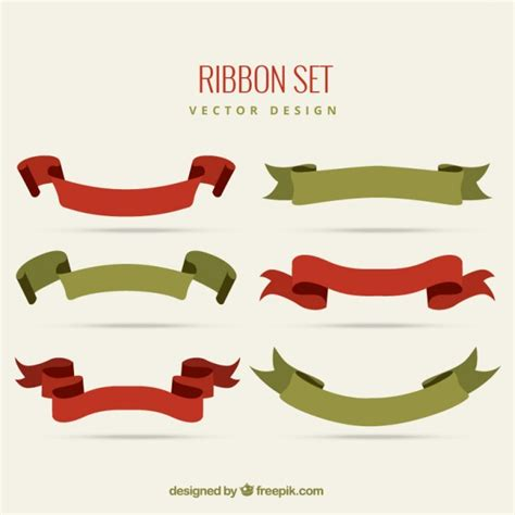 Set Ribon vintage ribbon set vector free