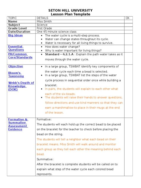 Water Cycle Lesson Plan Essential Elements Of Lesson Plan Template