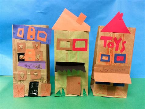 Paper Craft Buildings - paper bag buildings 1st with mrs nguyen