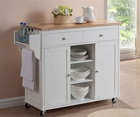white kitchen island with natural top kitchen island storage utility cabinet rolling cart w