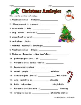 free christmas analogy worksheet with answer key by rachel
