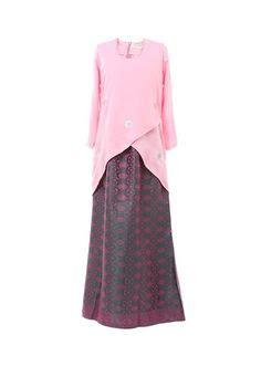Setelan Kebaya Cape Light Grey baju kurung moden kain songket fesyen trend terkini baju