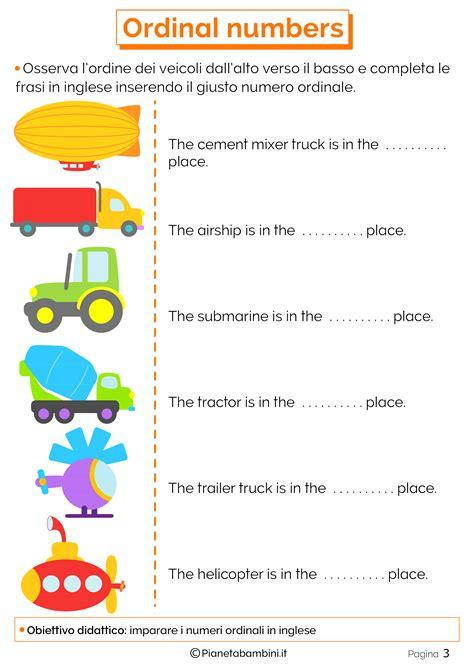 numeri in lettere inglese i numeri ordinali in inglese per bambini schede