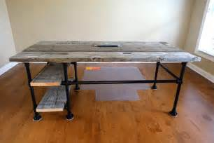 Reclaimed wood pipe desk with side shelves desk week