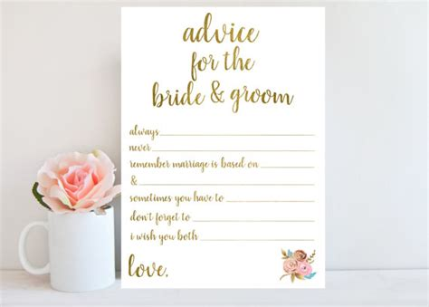 bridal shower advice game printable wedding advice card bridal shower games printable instant