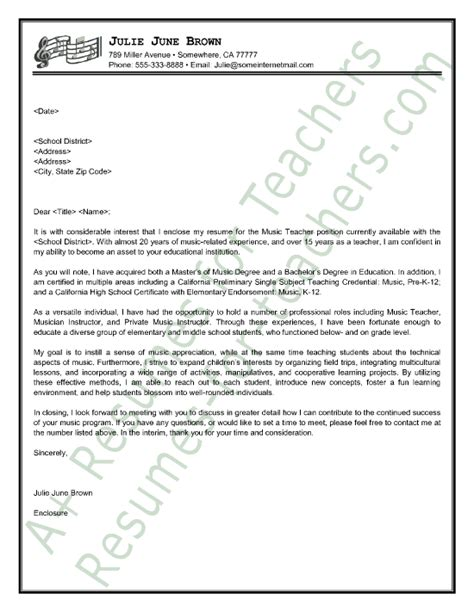 Teacher Cover Letter Example – Best Teacher Cover Letter Examples   LiveCareer