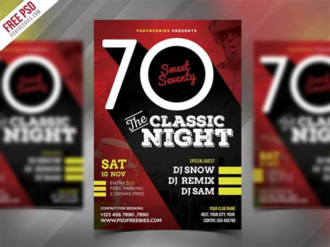 retro night party flyer template psd download download psd