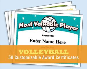 volleyball certificate templates | printable, customizable