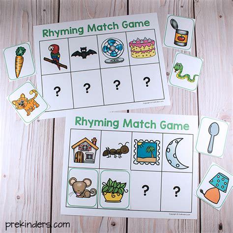 printable rhyming word games rhyming match games prekinders