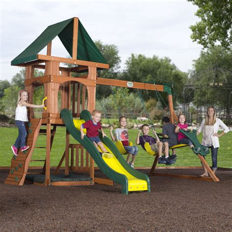 out door swing set backyard discovery santa fe cedar swing set free