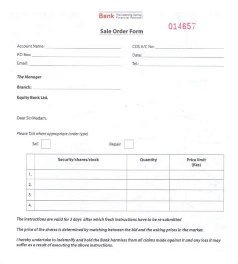 26 sales order templates free sle exle format