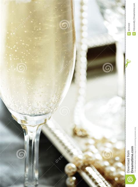 champagne  pearls stock photography image