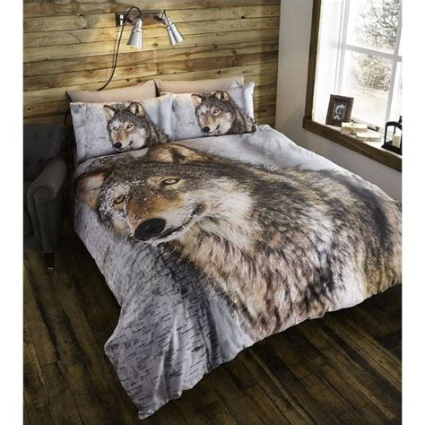 wolf bedroom duvet cover pillowcases bedding bed set brown