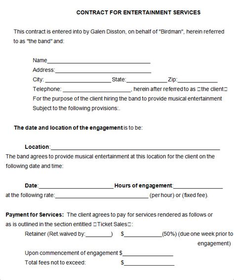 band contract template 5 free word pdf documents