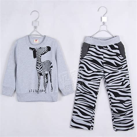 zebra pattern clothes 2015 autumn and winter boys girls clothing set child