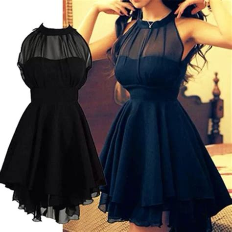 Chiffon Black Short Women Formal Dresses High Neck Fashion Summer Party Dresses Women's Dresses