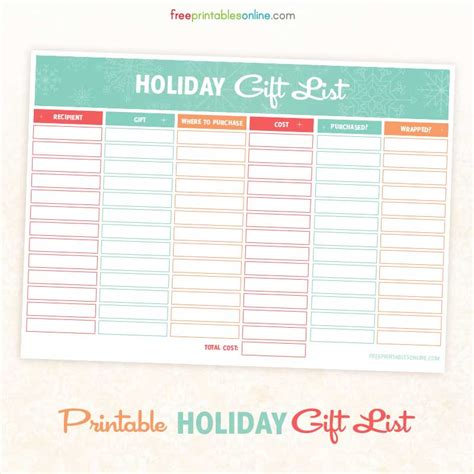 printable holiday gift and shopping list free printables