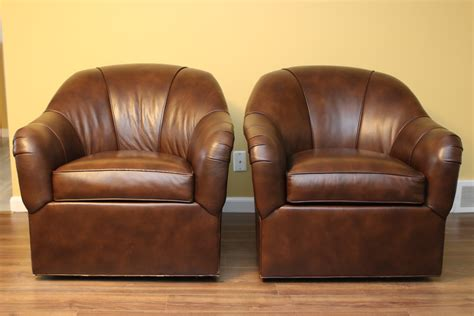 Pair Of Ethan Allen Swivel Leather Tub Chairs Black Rock Ethan Allen Swivel Chair