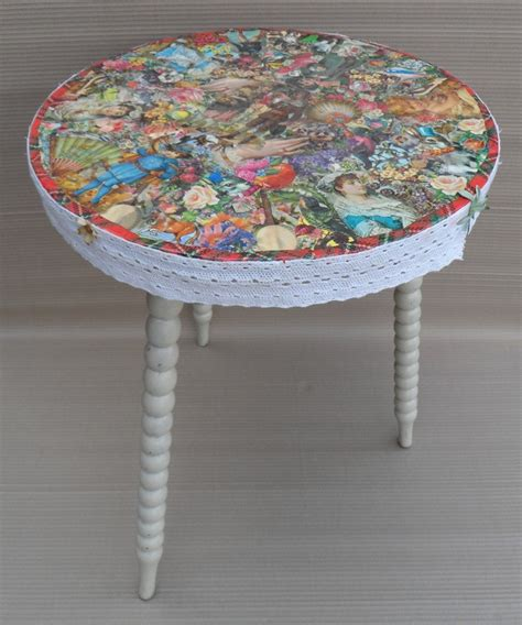 Decoupage Table - small kitchen table kitchen wallpaper