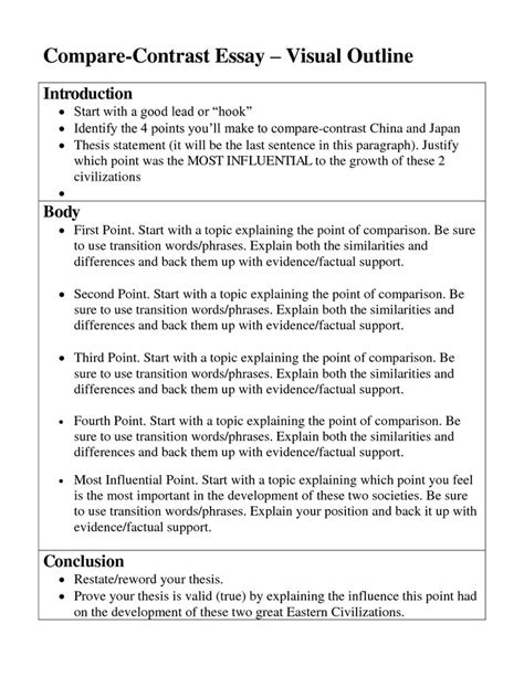 Exle Essay Compare And Contrast Thesis by Compare And Contrast Essay Sles For College