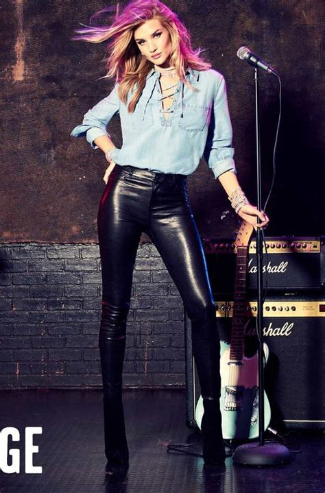 rosie huntington whiteley leather pants shirt denim shirt rosie huntington whiteley leather