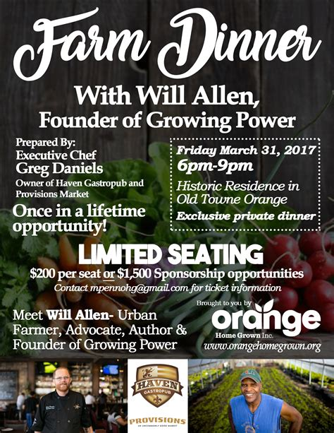 upcoming events farm dinner with will allen of growing