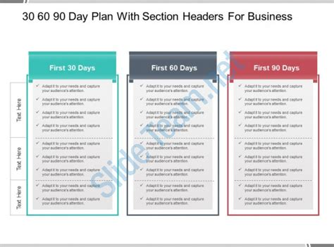 30 60 90 Day Plan With Section Headers For Business Powerpoint Guide Presentation Powerpoint 30 60 90 Day Plan Template Powerpoint