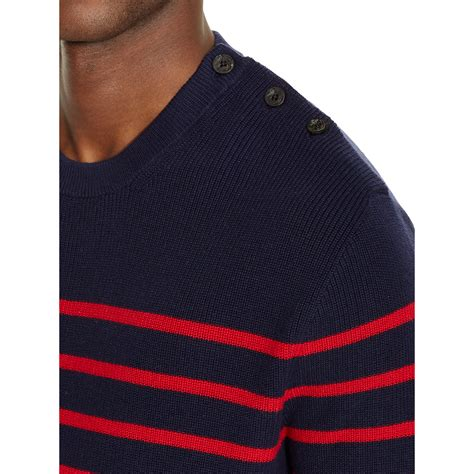 Polo Bb Stripe Navy Blue polo ralph striped cotton sweater in black for lyst