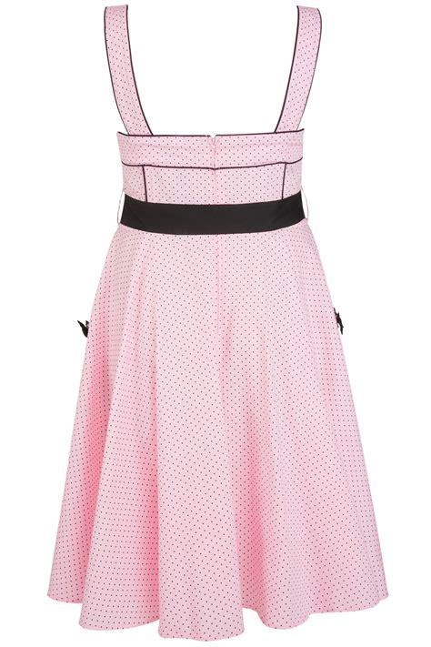 Dress Bunny Pink hell bunny pink black polka dot print 50 s style dress