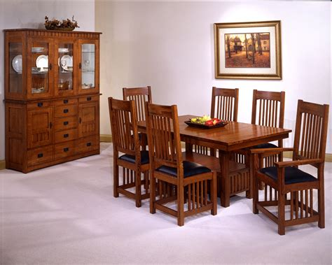 7 Pieces Oak Mission Style Dining Room Set With Rectangle Low Dining Table Usa Made Mission Style Oak Dining Room Set