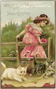 vintage postcard and kittens free graphic