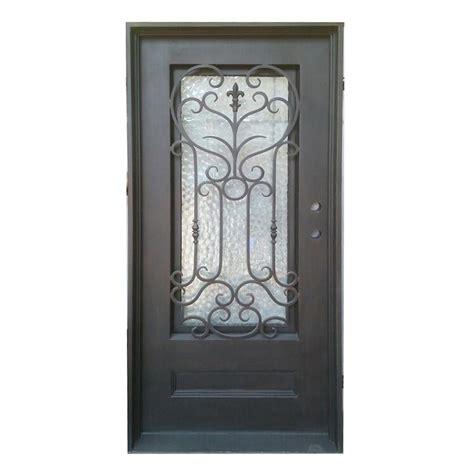 Wrought Iron And Glass Doors Grafton Exterior Wrought Iron Glass Doors Collection Black Left Inswing 82 Quot X38 Quot Flat Top