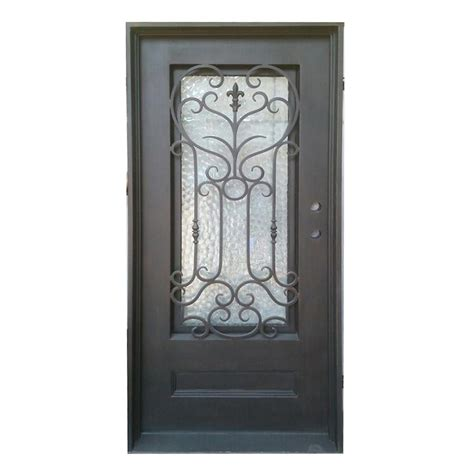 Exterior Wrought Iron Doors Grafton Exterior Wrought Iron Glass Doors Collection Black Left Inswing 82 Quot X38 Quot Flat Top