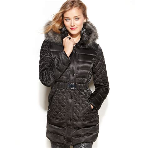 Guess Coat, Hooded Faux Fur Trim Quilted Puffer in Black