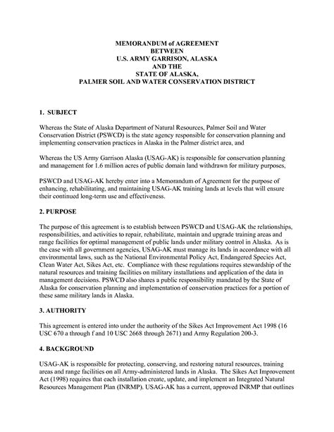 memorandum of agreement template army 11 best images of memorandum of understanding