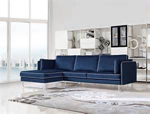 contemporary blue fabric sectional sofa with white piping