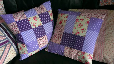 How To Make Patchwork - purple patchwork cushions sew sensational
