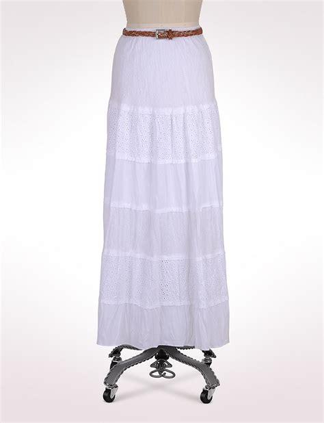 tiered eyelet swiss dot maxi white skirt clothing