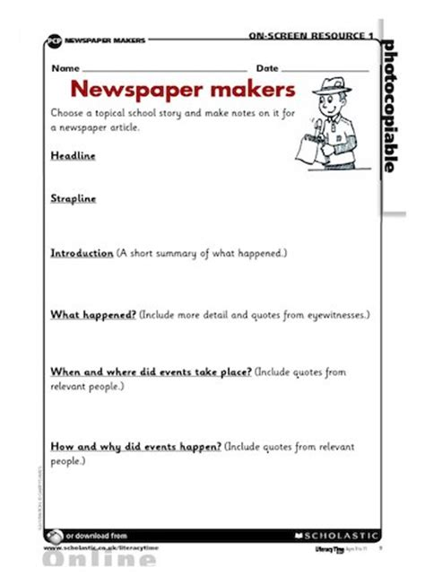 newspaper story template newspaper makers writing frame free primary ks2