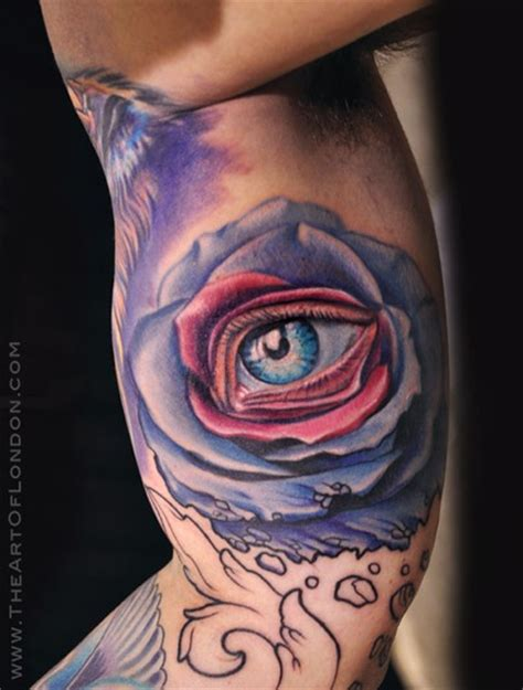 rose eye tattoo crumbling with eye by reese