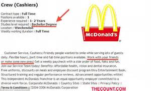 time cashier for mcdonalds required education 4 year